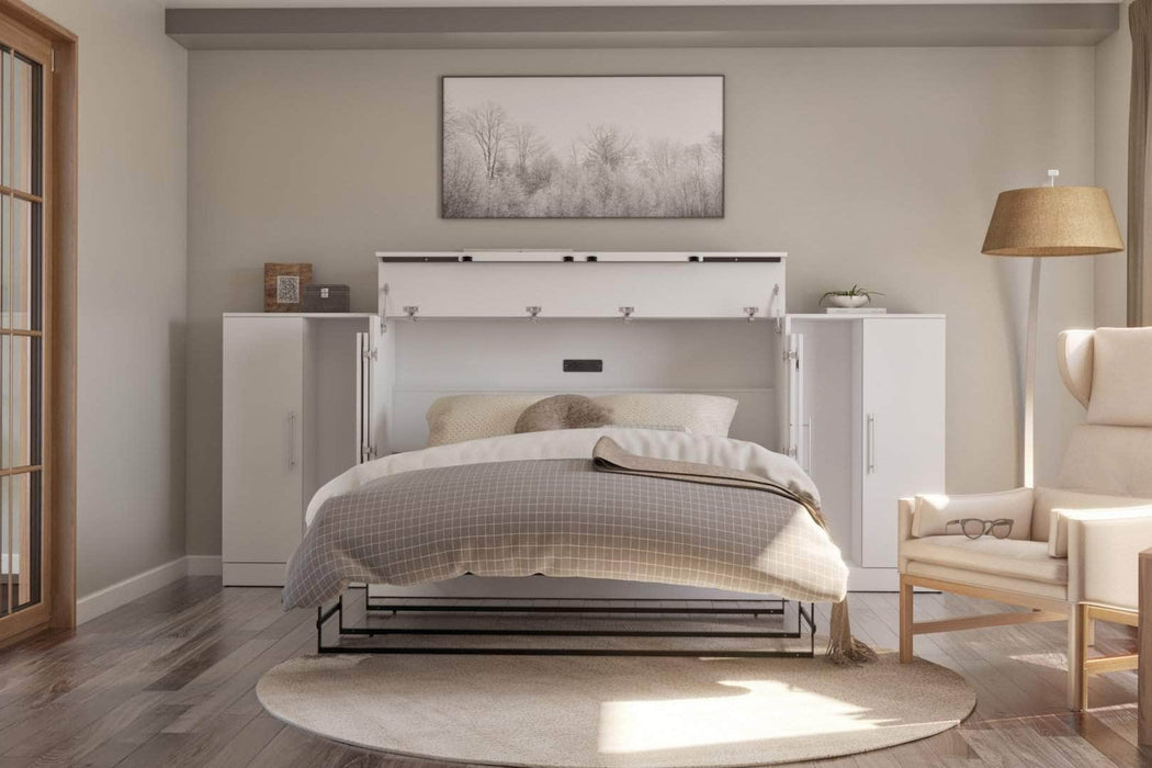 Pending - Bestar Cabinet Bed Nebula 3-Piece Set Including One Queen Cabinet Bed with Mattress and Two 26″ Storage Units - Available in 2 Colours