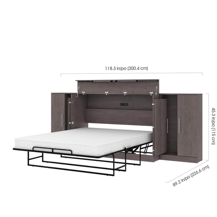 Pending - Bestar Cabinet Bed Nebula 3-Piece Set Including One Queen Cabinet Bed with Mattress and Two 26″ Storage Units - Available in 2 Colors