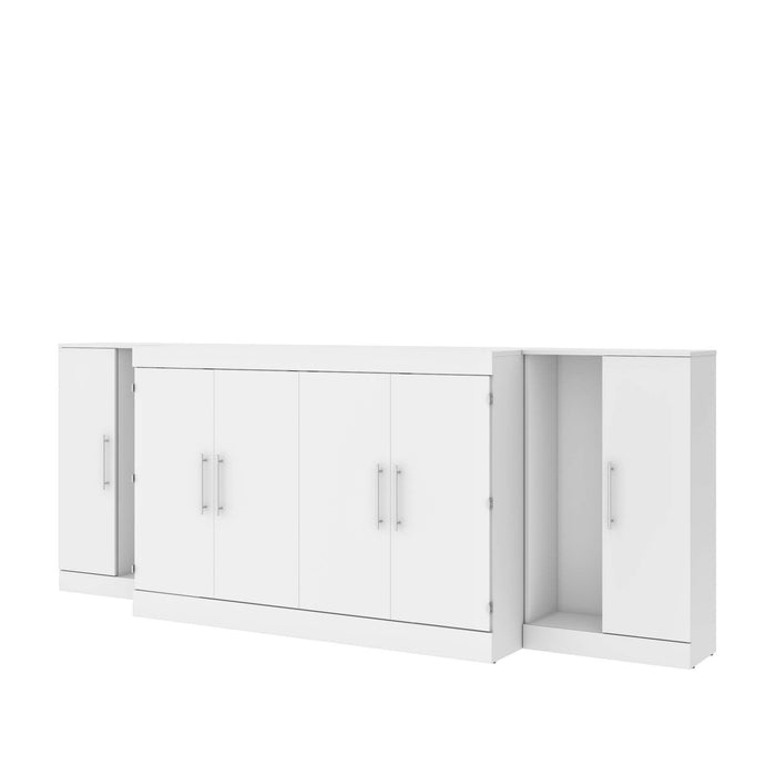 Pending - Bestar Cabinet Bed White Nebula 3-Piece Set Including One Queen Cabinet Bed with Mattress and Two 26″ Storage Units - Available in 2 Colors