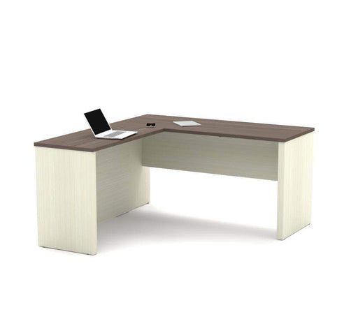 Pending - Bestar Chocolate Prestige+ L-Shaped Desk - Available in 3 Colours