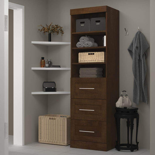 "Pending - Bestar Chocolate Pur 25"" Storage Unit with 3 Drawers - Available in 3 Colors"