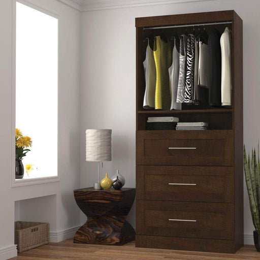 "Pending - Bestar Chocolate Pur 36"" Storage Unit with 3 Drawers - Available in 3 Colors"