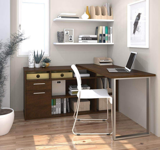 Pending - Bestar Chocolate Solay L-Shaped Desk - Available in 4 Colours