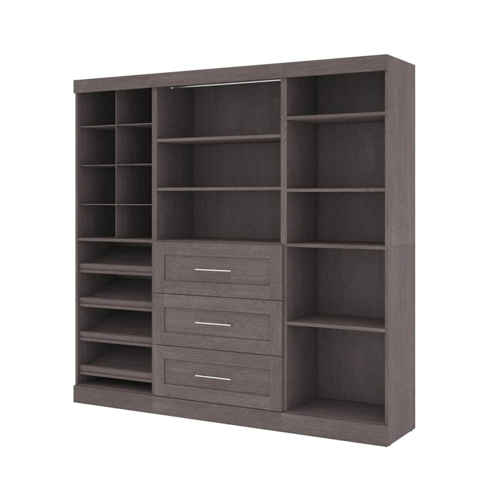 "Pending - Bestar Closet Organizer Bark Grey Pur 86"" Closet Organizer with Storage Cubbies - Available in 3 Colours"