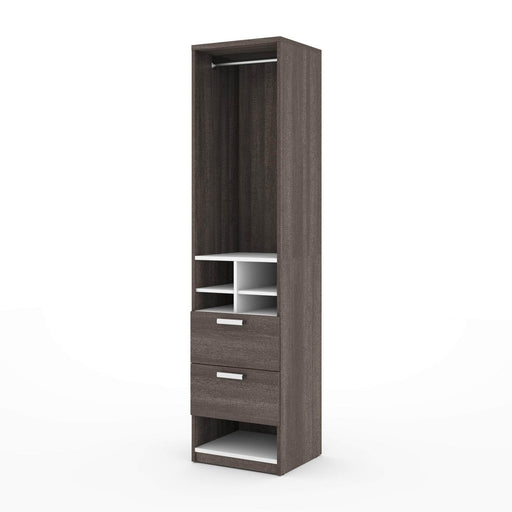 "Pending - Bestar Closet Organizer Bark Grey & White Cielo 19.5"" Closet Organizer with Drawers and Storage Cubbies - Bark Grey & White"