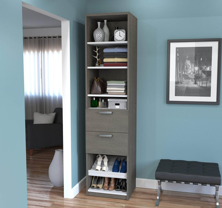 "Pending - Bestar Closet Organizer Bark Grey & White Cielo 19.5"" Closet Organizer with Drawers - Bark Grey & White"