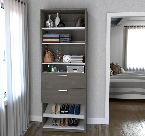 "Pending - Bestar Closet Organizer Bark Grey & White Cielo 29.5"" Closet Organizer with Drawers - Bark Grey & White"
