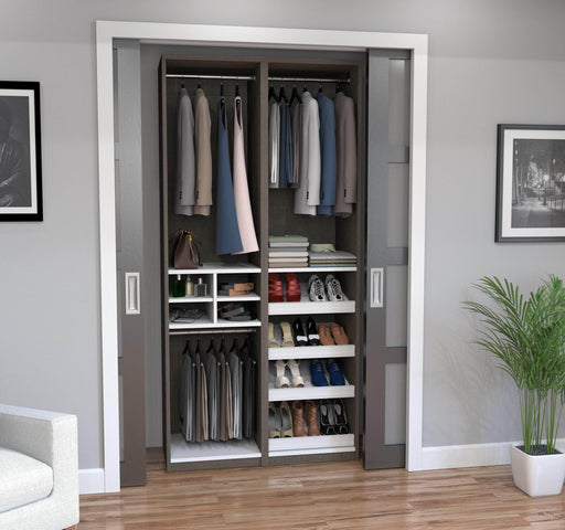 "Pending - Bestar Closet Organizer Bark Grey & White Cielo 39"" Closet Organizer - Bark Grey & White"