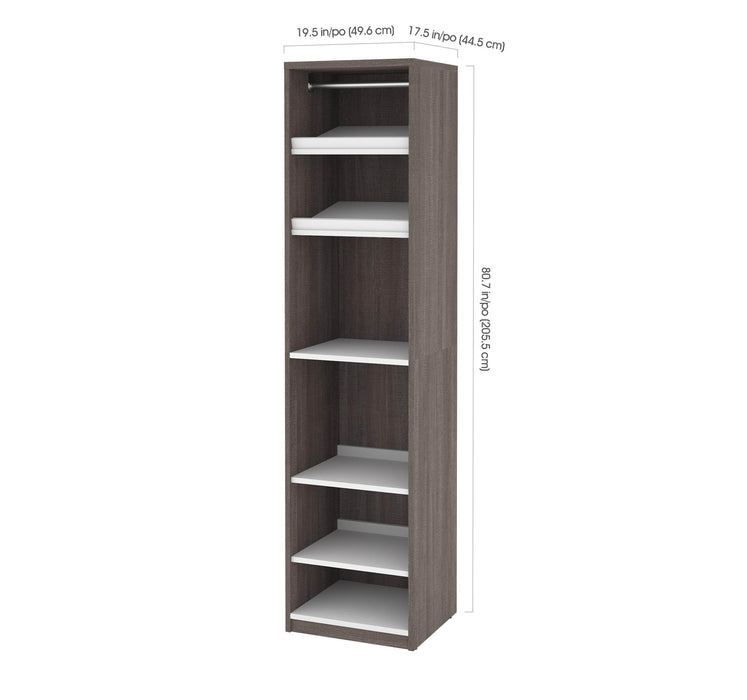 "Pending - Bestar Closet Organizer Bark Grey & White Cielo 39"" Closet Organizer with 1 Low Storage Unit - Bark Grey & White"