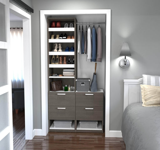 "Pending - Bestar Closet Organizer Bark Grey & White Cielo 39"" Closet Organizer with Drawers - Bark Grey & White"