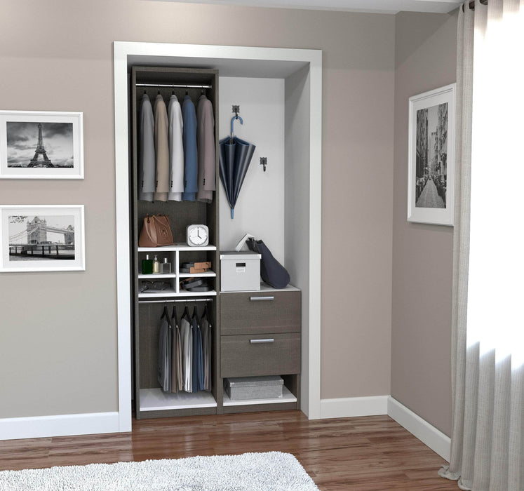 "Pending - Bestar Closet Organizer Bark Grey & White Cielo 39"" Closet Organizer with Storage Cubbies - Bark Grey & White"