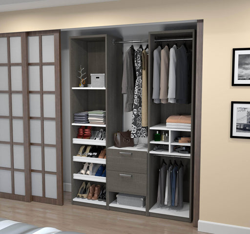 "Pending - Bestar Closet Organizer Bark Grey & White Cielo 59"" Closet Organizer - Bark Grey & White"