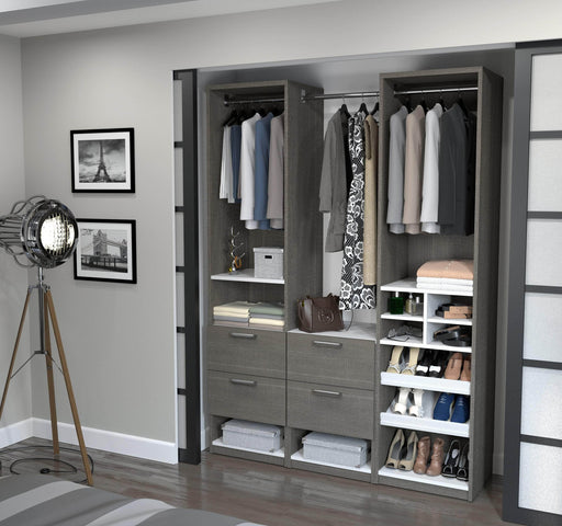 "Pending - Bestar Closet Organizer Bark Grey & White Cielo 59"" Closet Organizer with 4 Drawers - Bark Grey & White"