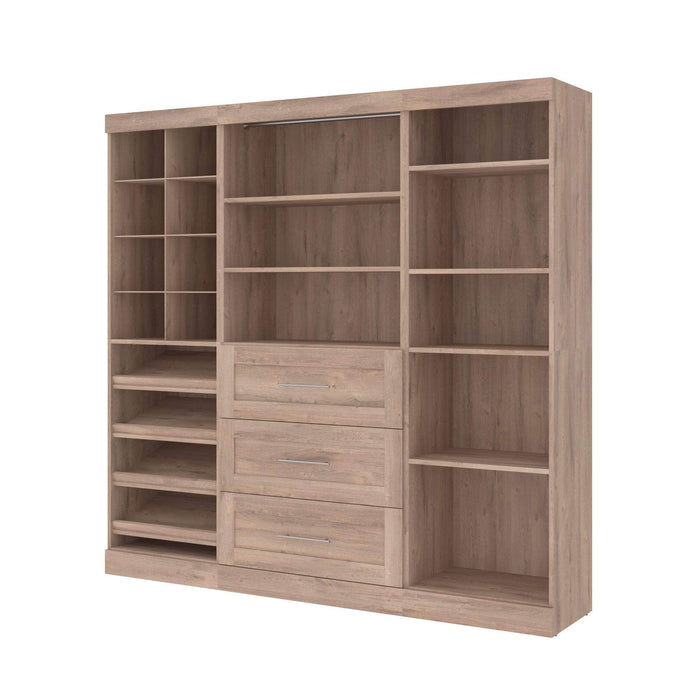 "Pending - Bestar Closet Organizer Rustic Brown Pur 86"" Closet Organizer with Storage Cubbies - Available in 3 Colours"