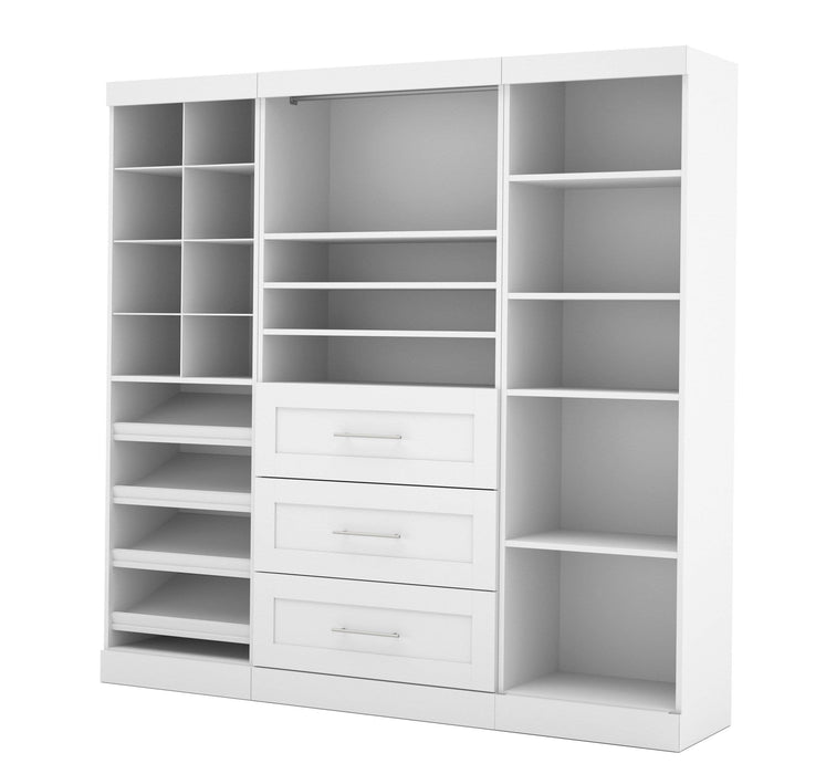 "Pending - Bestar Closet Organizer White Pur 86"" Closet Organizer with Storage Cubbies - Available in 3 Colours"