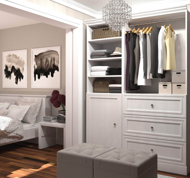 "Pending - Bestar Closet Organizer White Versatile 61"" Closet Organizer with Drawers and Door - White"