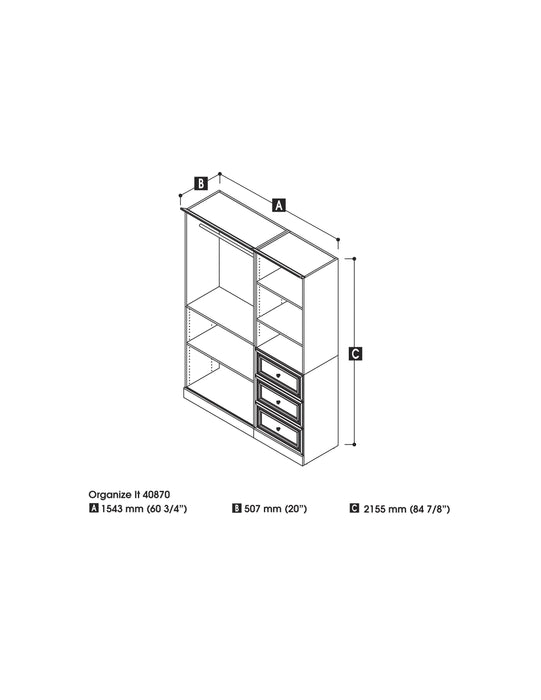 "Pending - Bestar Closet Organizer White Versatile 61"" Closet Organizer with Drawers - White"