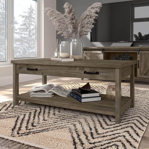 Bestar Coffee Table Isida 44W Coffee Table in Brown Oak