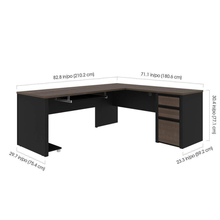 Pending - Bestar Connexion L-Shaped Desk with Pedestal - Available in 3 Colours