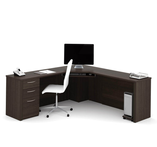 Pending - Bestar Corner Desk Dark Chocolate Embassy Corner Desk with Pedestal - Dark Chocolate