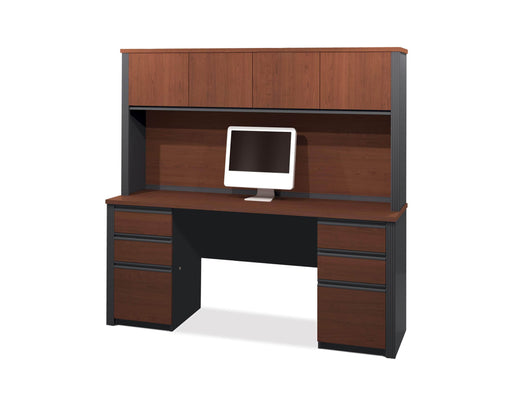 Pending - Bestar Credenza Desk Bordeaux & Graphite Prestige + Credenza Desk with Two Pedestals and Hutch - Bordeaux & Graphite