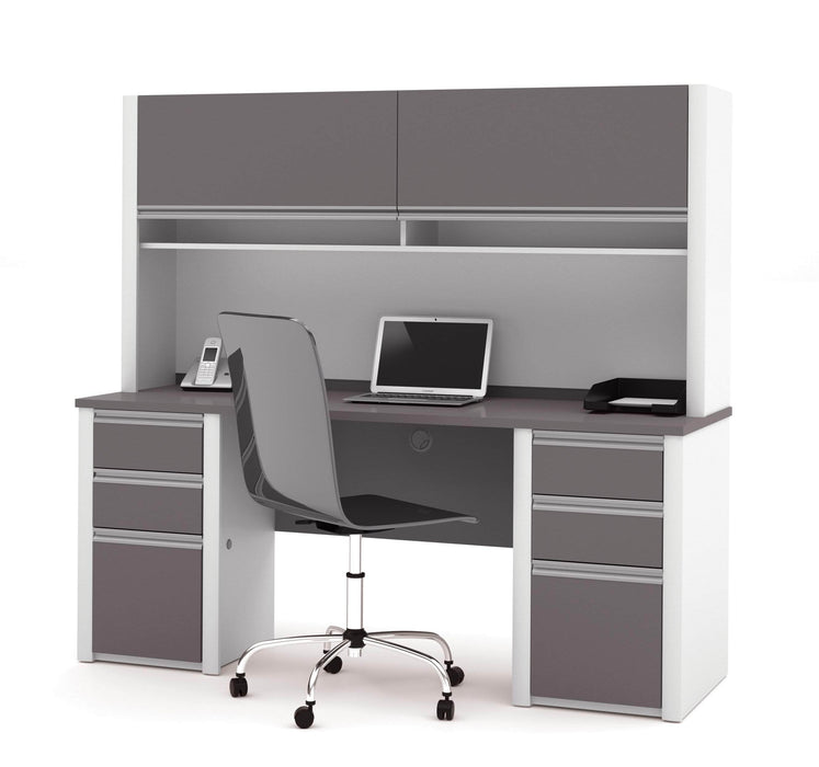Pending - Bestar Credenza Desk Connexion Credenza Desk with Two Pedestals and Hutch - Available in 2 Colors