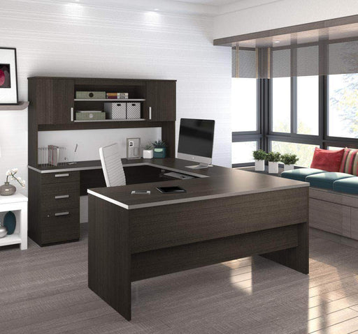 Pending - Bestar Dark Chocolate Ridgeley U-Shaped Desk with Pedestal and Hutch - Available in 2 Colours