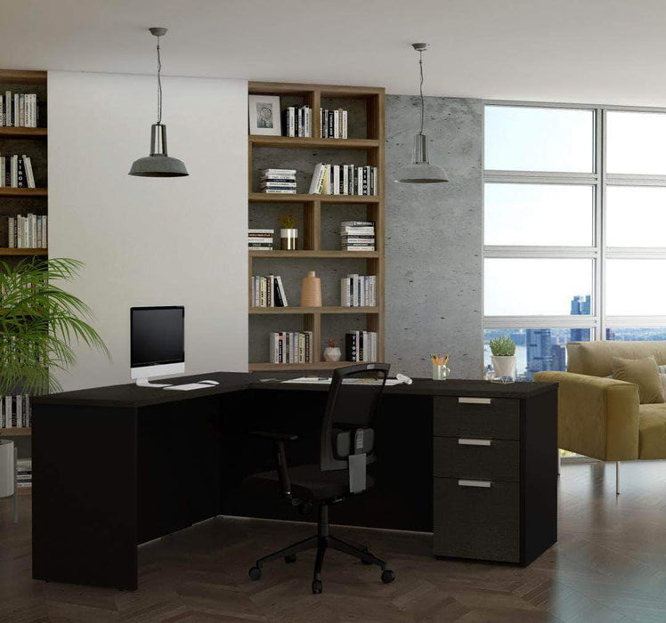 Pending - Bestar Deep Grey & Black L-Shaped Desk with Pedestal - Available in 2 Colours