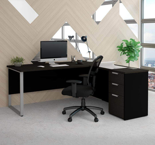 Pending - Bestar Deep Grey & Black Pro-Concept Plus Open Side L-Shaped Desk with Pedestal - Available in 2 Colours