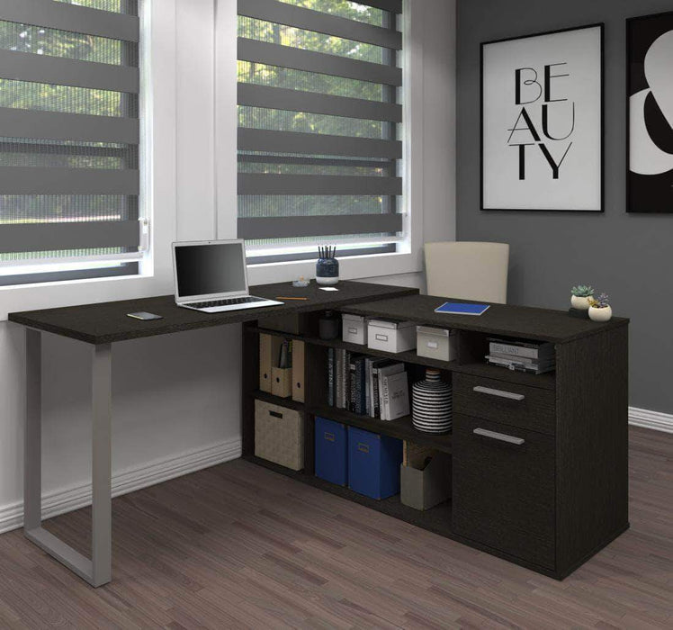 Pending - Bestar Deep Grey Solay L-Shaped Desk - Available in 4 Colors