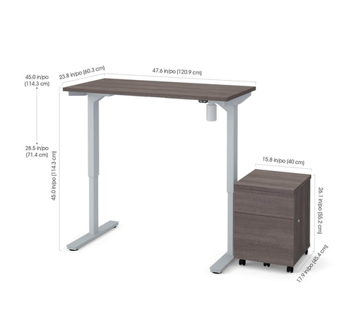 "Pending - Bestar Desk Sets Bark Grey Universel 2-piece set including a 24"" x 48"" standing desk and a mobile pedestal - Bark Grey"