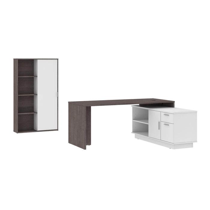 Pending - Bestar Desk Sets Bark Grey & White Equinox 2-Piece Set Including 1 L-Shaped Desk and 1 Storage Unit with 8 Cubbies - Available in 2 Colors