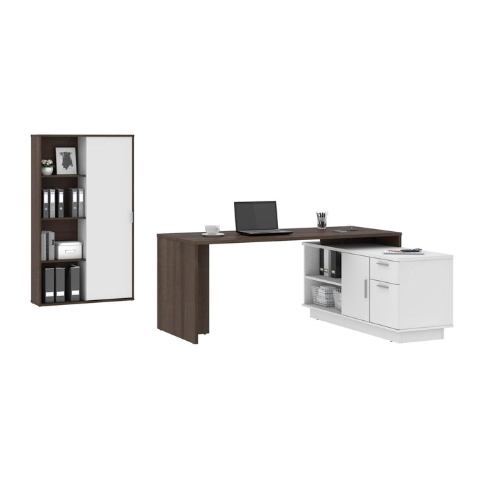 Pending - Bestar Desk Sets Equinox 2-Piece Set Including 1 L-Shaped Desk and 1 Storage Unit with 8 Cubbies - Available in 2 Colors