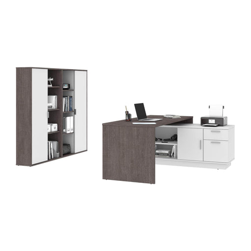 Pending - Bestar Desk Sets Equinox 3-Piece Set Including 1 L-Shaped Desk and 2 Storage Units with 8 Cubbies - Available in 2 Colours