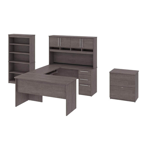 Pending - Bestar Desk Sets Innova U or L-Shaped Desk with Pedestal and Hutch, 1 Lateral File Cabinet, and 1 Bookcase - Available in 3 Colors