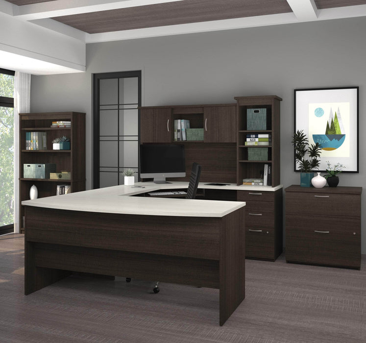 Pending - Bestar Desk Sets Outremont U or L-Shaped Desk, 1 Lateral File Cabinet, and 1 Bookcase - Available in 2 Colors