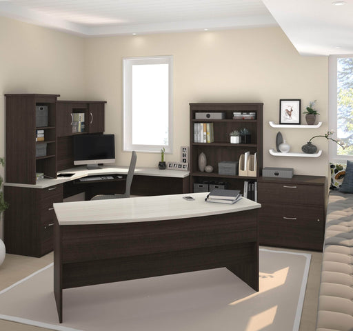 Pending - Bestar Desk Sets Outremont U or L-Shaped Desk, 1 Lateral File Cabinet, and 1 Bookcase - Available in 2 Colours