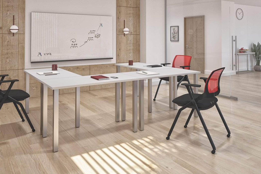 Pending - Bestar Desk Sets Universel 4-Piece Set Including four 24″ × 48″ Table desks with Square Metal Legs - Available in 3 Colors