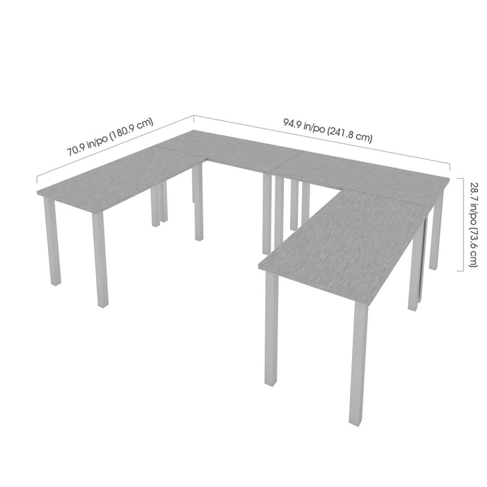 Pending - Bestar Desk Sets Universel 4-Piece Set Including four 24″ × 48″ Table desks with Square Metal Legs - Available in 3 Colours