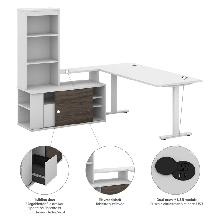 Pending - Bestar Desk Sets White & Walnut grey Pro-Vega Table Desk and Credenza with Hutch - White & Walnut grey