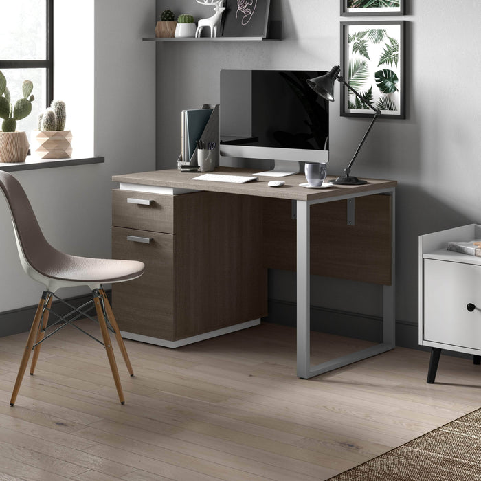 Bestar Small Desk Aquarius 45W Small Desk In Walnut Grey & Slate