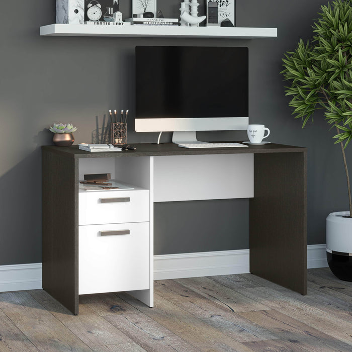 Bestar Desks Meropa 48W Small Computer Desk in Deep Grey & White