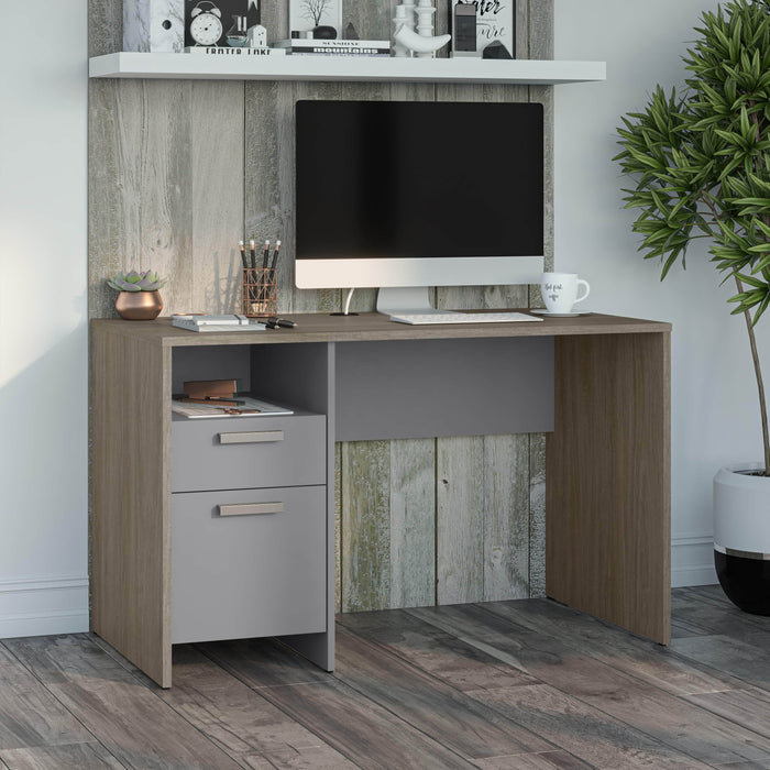 Bestar Desks Meropa 48W Small Computer Desk in Walnut Grey & Slate