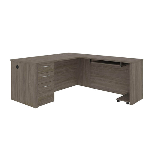 Pending - Bestar Desks Walnut Grey Embassy 66W L-Shaped Desk With Pedestal - Available in 2 Colors