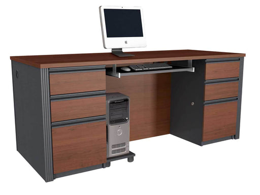 Pending - Bestar Executive Desk Bordeaux & Graphite Prestige + Executive Desk - Bordeaux & Graphite