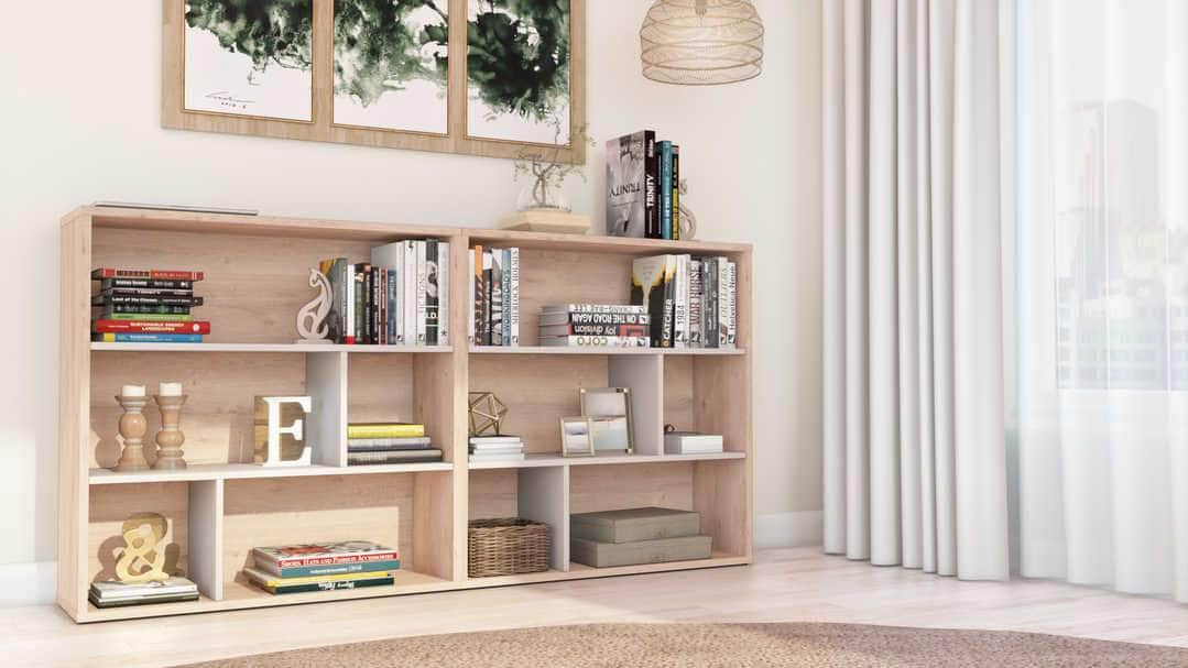 Fom 2-Piece Set including Two Asymmetrical Shelving Units - Rustic Brown & Sandstone