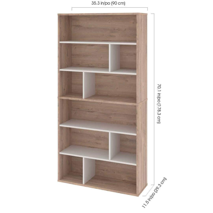 Pending - Bestar Fom 2-Piece Set including Two Asymmetrical Shelving Units - Rustic Brown & Sandstone