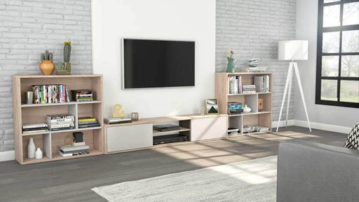 Fom 3-Piece Set including a TV Stand and Two Asymmetrical Shelving Units - Rustic Brown & Sandstone