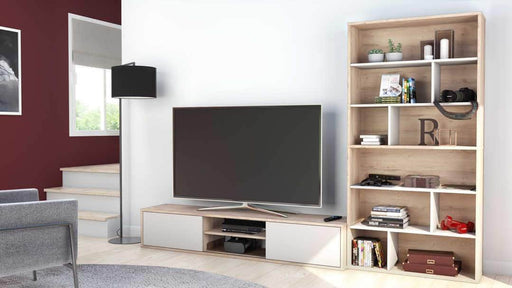 Pending - Bestar Fom 3-Piece Set including a TV Stand and Two Asymmetrical Shelving Units - Rustic Brown & Sandstone
