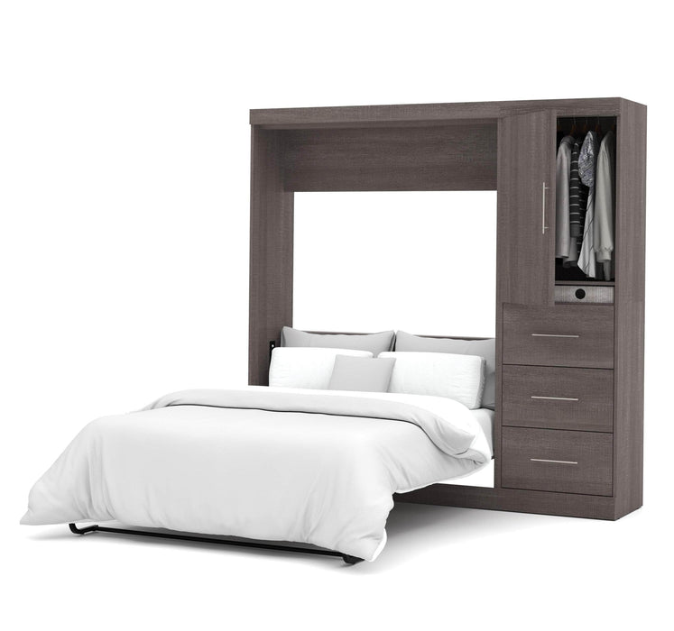 Pending - Bestar Full Murphy Bed Bark Grey Nebula Full Murphy Bed and Storage Unit with Drawers (84W) - Available in 4 Colours